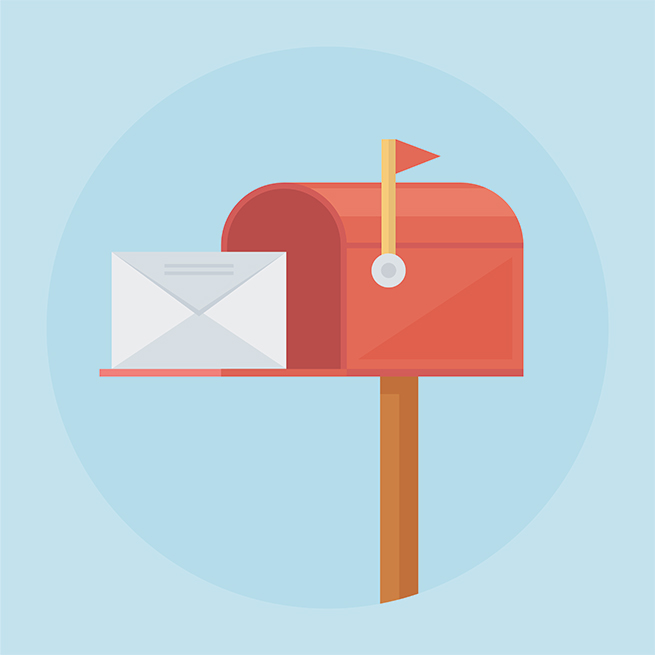 A vector of an open mailbox with a letter