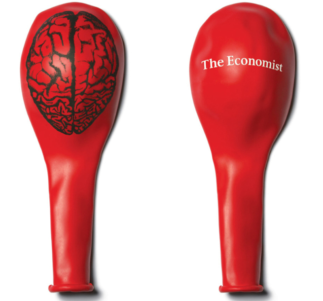 A Deflated Baloon with a Picture of a Brain and the words The Economist